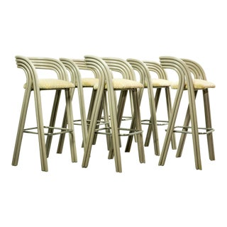 Set of Six Mid-Century Dutch Design Luxurious Bamboo Barstools by Axel Enthoven for Rohé Holland, 1980's