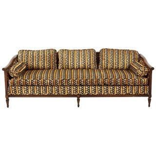 Midcentury Upholstered Walnut Three-Seat Sofa For Sale