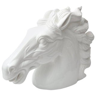 Late 20th Century Monumental Italian White Horse Head Sculpture For Sale