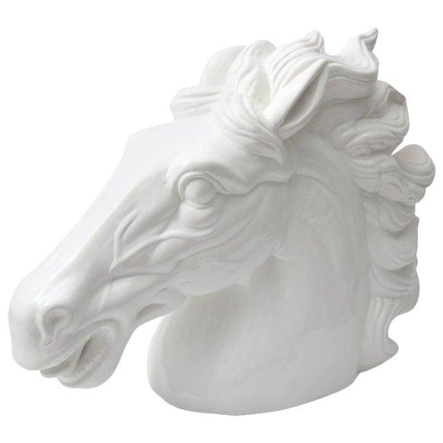 Late 20th Century Monumental Italian White Horse Head Sculpture For Sale