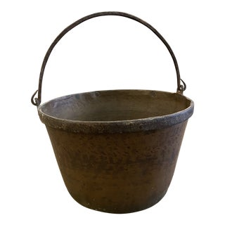 Antique Brass Pot With Handle For Sale
