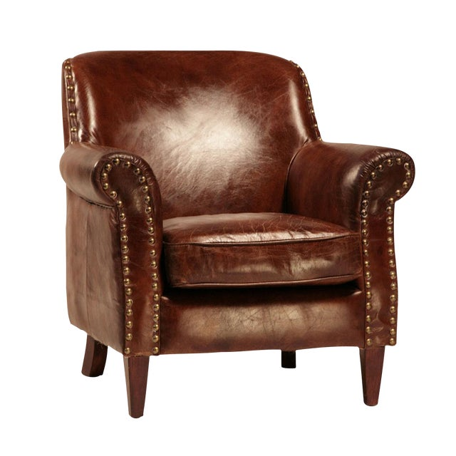 Aged Leather & Brass Club Chair - Image 1 of 2