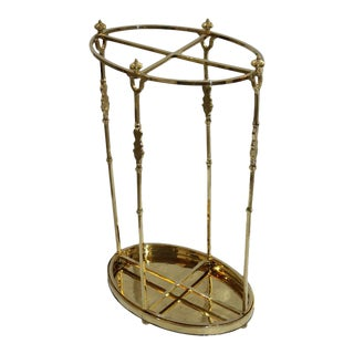 Polished Brass Umbrella Stand by Jean Royère For Sale