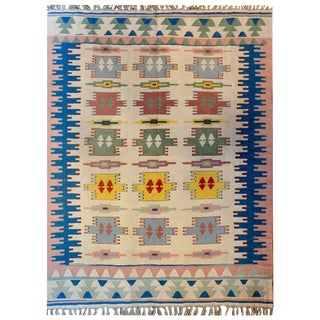 Wonderful Vintage Indian Dhurrie Rug For Sale