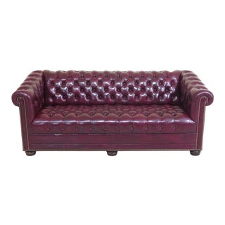 21st Century Vintage English Design Tufted Leather Chesterfield Sofa For Sale