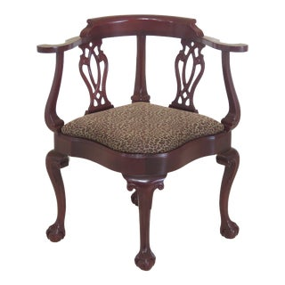 Hancock & Moore Ball & Claw Mahogany Corner Chair For Sale