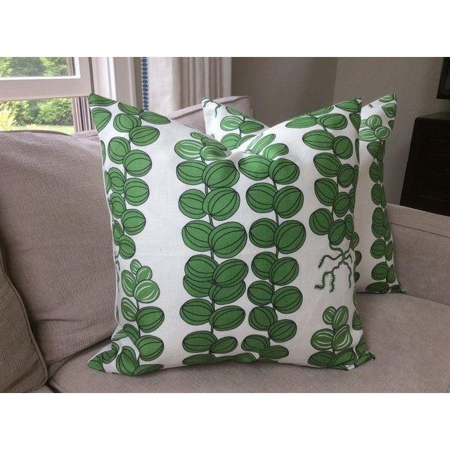 Contemporary Svenskt Tenn for Josef Frank Emerald Green Celotocaulis Pillows - a Pair For Sale In Atlanta - Image 6 of 6