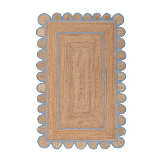Scallop Jute Classic Blue Hand Made Rug - 2'x3' For Sale