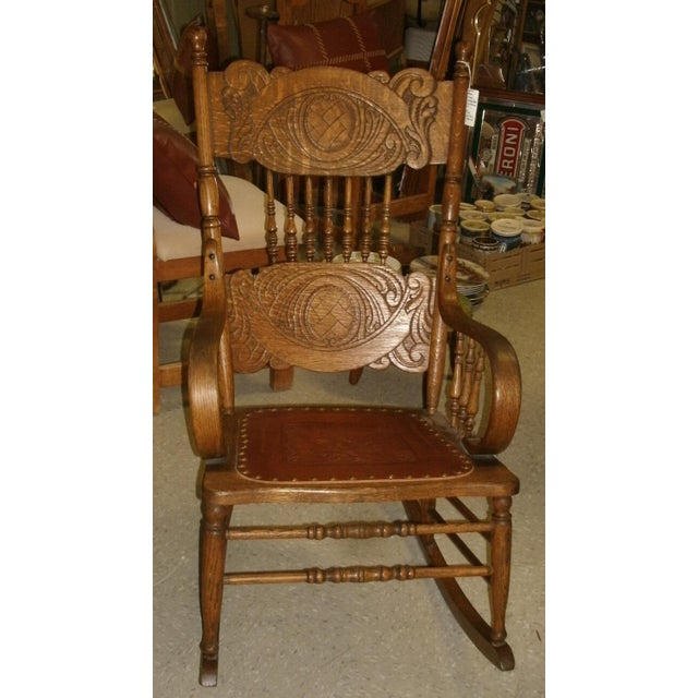 Antique Larkin Soap Company Ribbon Back Oak Rocking Chair For Sale - Image 13 of 13