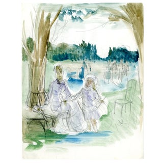 Original French Watercolor Sketch For Sale