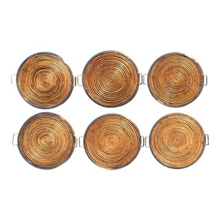 Gabriella Crespi Style Vintage Pencil Reed Coiled Bamboo Brass Rim Tray For Sale