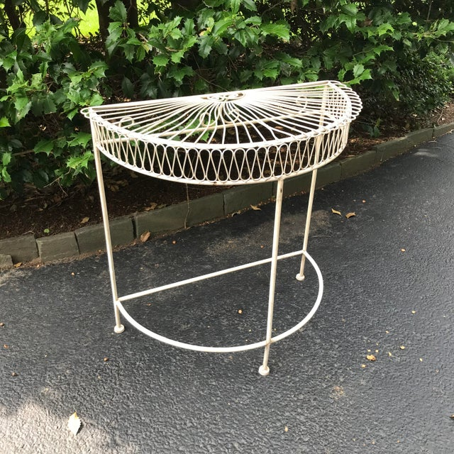 Vintage Wrought Iron Demi Lune Table With Original Paint For Sale - Image 9 of 11