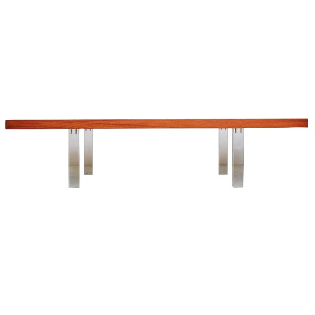 1960s Vintage Milo Baughman for Directional Walnut & Lucite Coffee Table For Sale