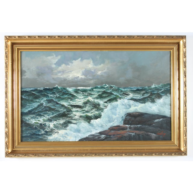 Seascape original oil on canvas by Erik Theodor Carlberg signed in lower right corner and displayed in gilt wood frame....