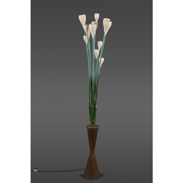 """Gold Large """"Calla"""" Floor Lamp in the Manner of Angelo Lelii for Arredoluce For Sale - Image 8 of 8"""