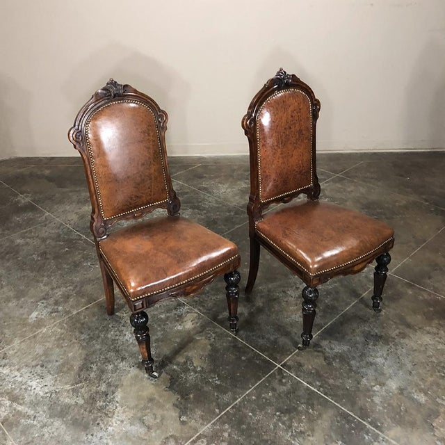 Animal Skin Set of Eight 19th Century French Walnut Dining Chairs For Sale - Image 7 of 13