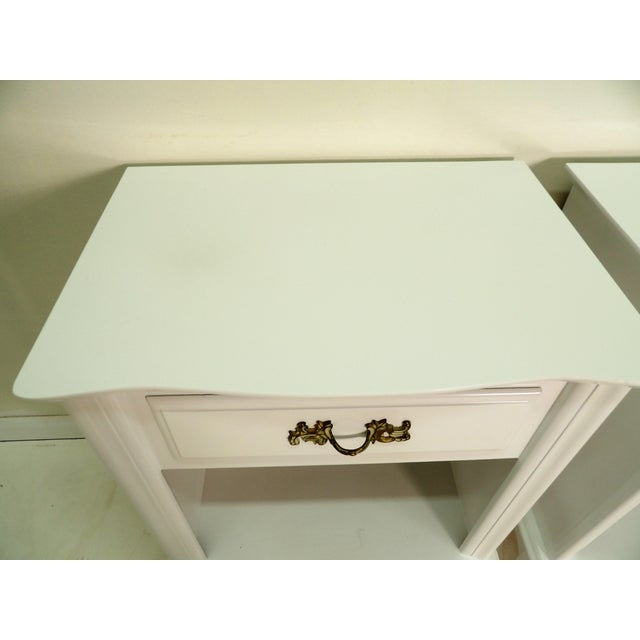French Provincial Style White Nightstands - a Pair For Sale In West Palm - Image 6 of 8