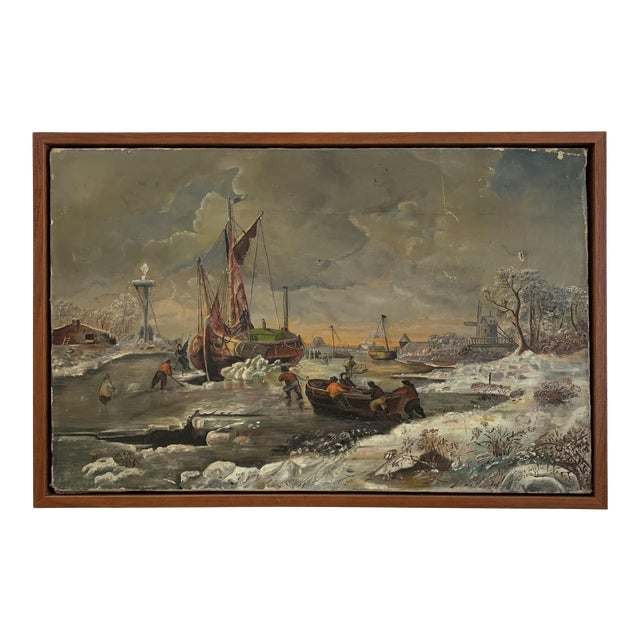 1887 Antique C. Johnson Oil on Canvas Painting For Sale