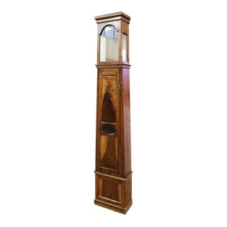 19th Century Antique French Tall Oak Clock Case and Non Working Clock For Sale
