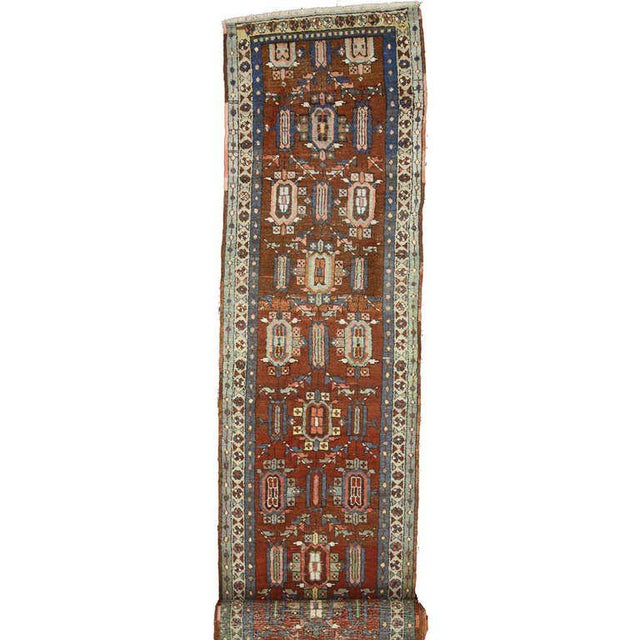 Distressed Antique Persian Heriz Runner - 02'05 X 17'03 For Sale - Image 9 of 9
