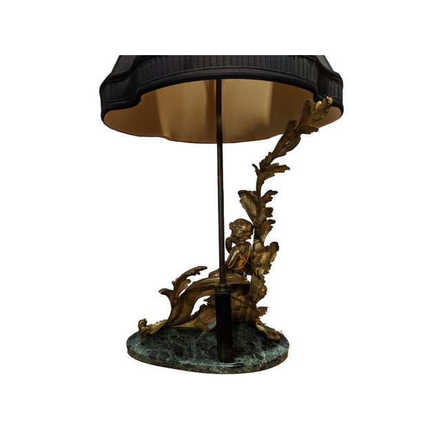 Stone 19th Century French Ormolu Chenet Lamps With Shades - a Pair For Sale - Image 7 of 13