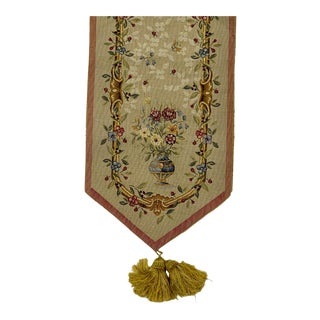 Vintage French Floral & Faux Bois Needlework Table Runner - 5 Feet For Sale