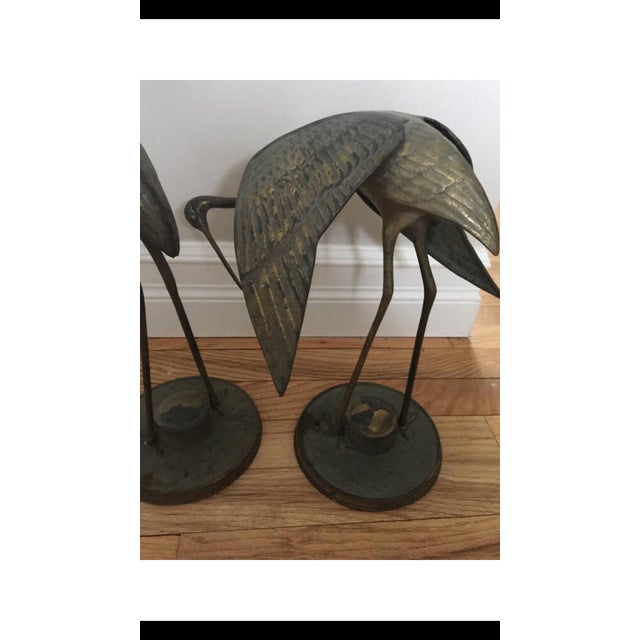 Brass Crane Statues- a Pair For Sale - Image 12 of 13