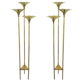 Pair of Mid Century Brass Floor Lamps in the Style of Gabriella Crespi For Sale