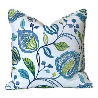 Clarke and Clarke Kayo Apple Green and Denim Blue Pillow Cover 20x20 For Sale