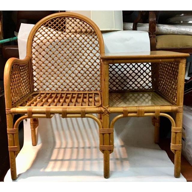 Wicker and Bamboo Chair & Table For Sale - Image 12 of 12