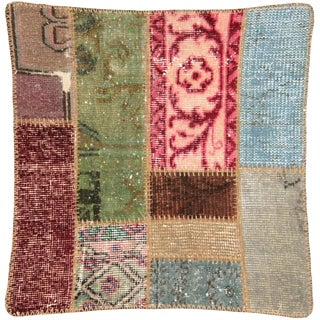 """Nalbandian - 1940s Turkish Patchwork Pillow - 24"""" X 24"""" For Sale"""