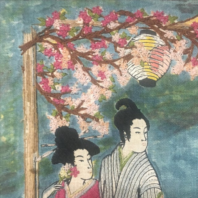 Asian Watercolor & Needlepoint Artwork - Image 6 of 8