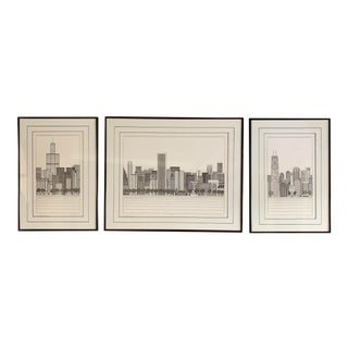 Limited Edition Chicago Line Drawing Triptych - Set of 3 For Sale
