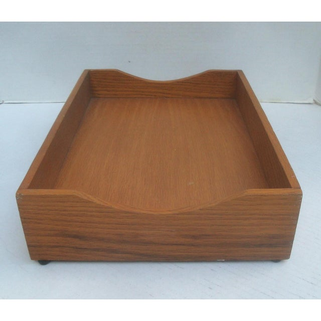 Authentic vintage solid oak wood letter and mail tray. These old pieces are great for organizing magazines and other...