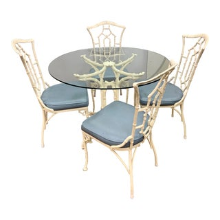 1950s Vintage Chinese Chippendale Faux Bamboo Dining Set Table and 4 Chairs For Sale