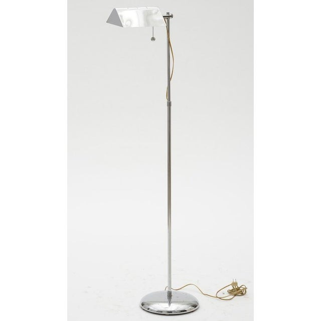 Clover Lamp Company Vintage Chrome pharmacy/reading floor lamp has swing arm in the style of Koch & Lowy. Round, weighted...