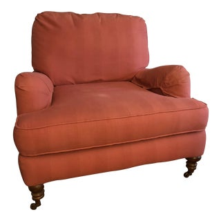 Modern English Rose Upholstery Roll-Arm Chair For Sale