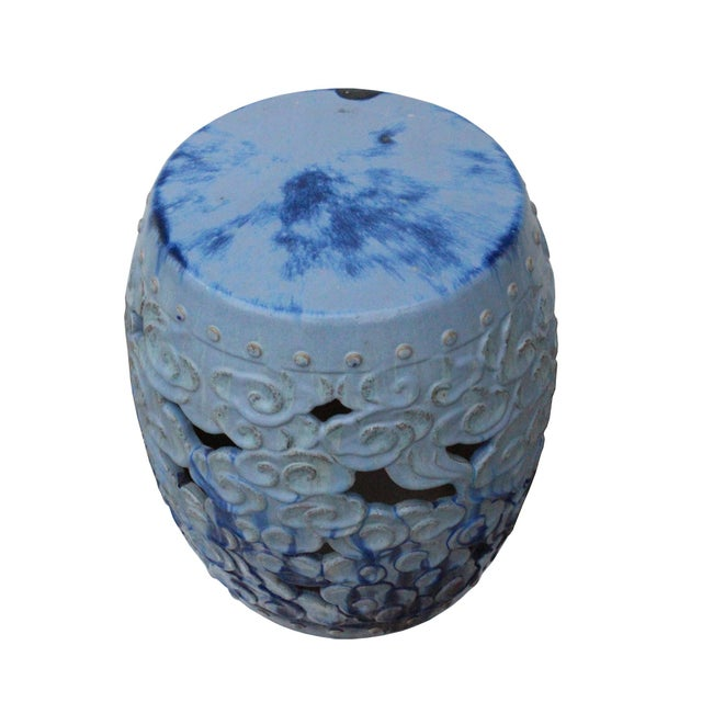 Blue Ceramic Clay Light Blue Glaze Round Scroll Pattern Garden Stool For Sale - Image 8 of 9