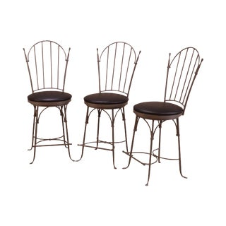 """Charleston Forge """"Shaker Arch"""" Set 3 Iron Swivel Counter Stools For Sale"""