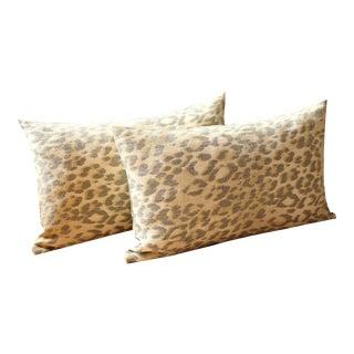 Leopard Linen Lumbar Pillow Covers- a Pair For Sale