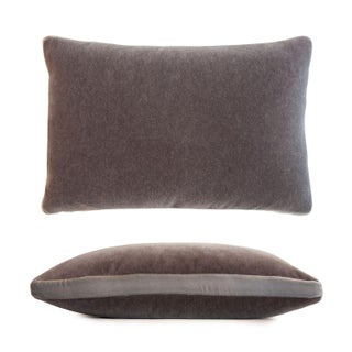 Gray/Nickel Mohair Pillow For Sale
