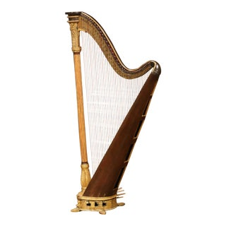 Early 19th Century English Maple and Gilt Bronze Double Action Harp by J. Erat For Sale