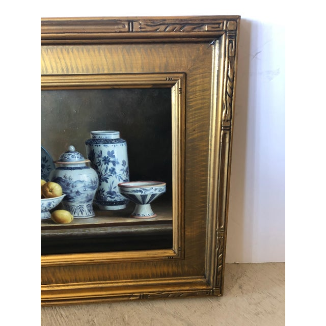 Realistic Blue and White Chinese Export Still Life Painting For Sale In Philadelphia - Image 6 of 11