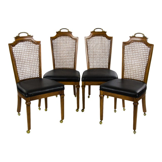 Late 19th Century French Regency Style Caned Back and Vinyl Dining Chairs - Set of 4 For Sale