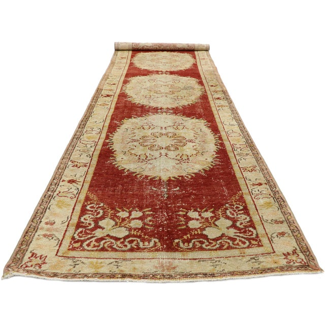 French Country Vintage Turkish Oushak Runner - 03'03 X 11'05 For Sale - Image 3 of 10