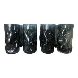 8 Handblown Charcoal Tumbler Glasses For Sale