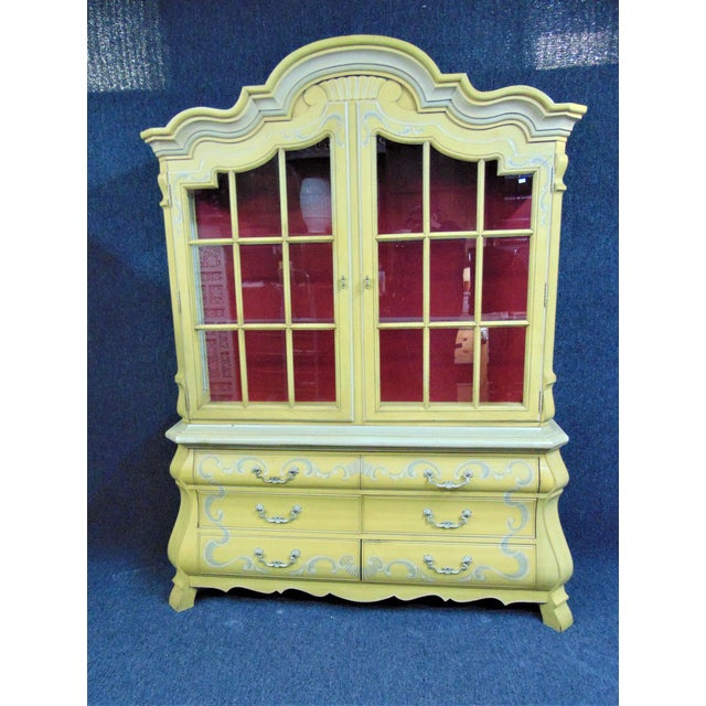 Drexel French Style Paint Decorated China Cabinet For Sale - Image 10 of 10