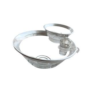 Mid-Century Silver Rim Salad Bowl Set