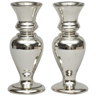 Pair of Victorian Mercury Glass Vases, circa 1870 For Sale