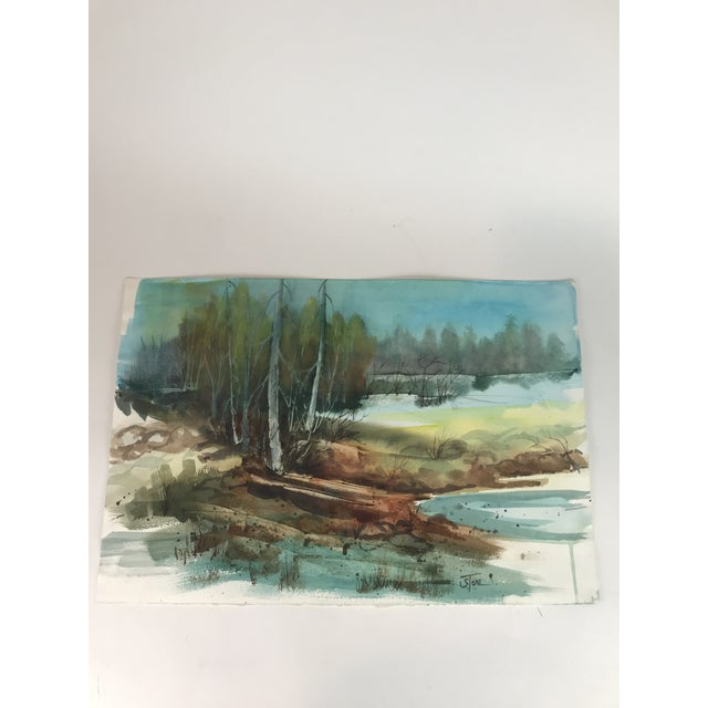 2010s Original Unframed Forest Watercolor Painting For Sale - Image 5 of 5
